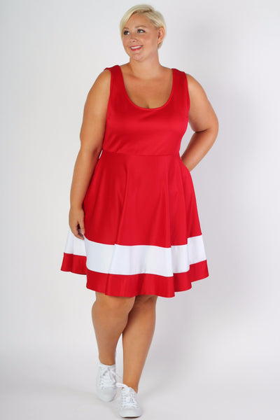 Plus Size Clothing for Women - Classic Stripe Skater Dress - Red - Society+ - Society Plus - Buy Online Now! - 2