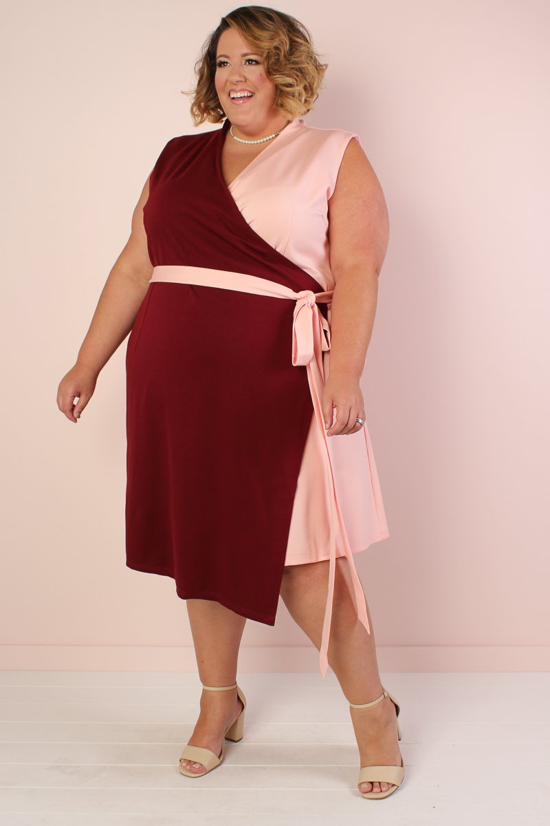 Color Block Power Dress - Light Pink/Burgundy