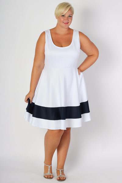 Plus Size Clothing for Women - Classic Stripe Skater Dress - White - Society+ - Society Plus - Buy Online Now! - 3