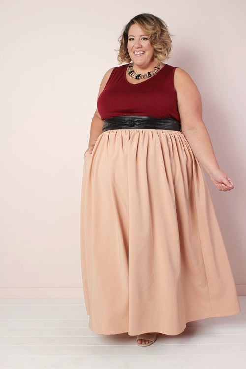 Twirl Maxi Skirt w/ Pockets - Taupe