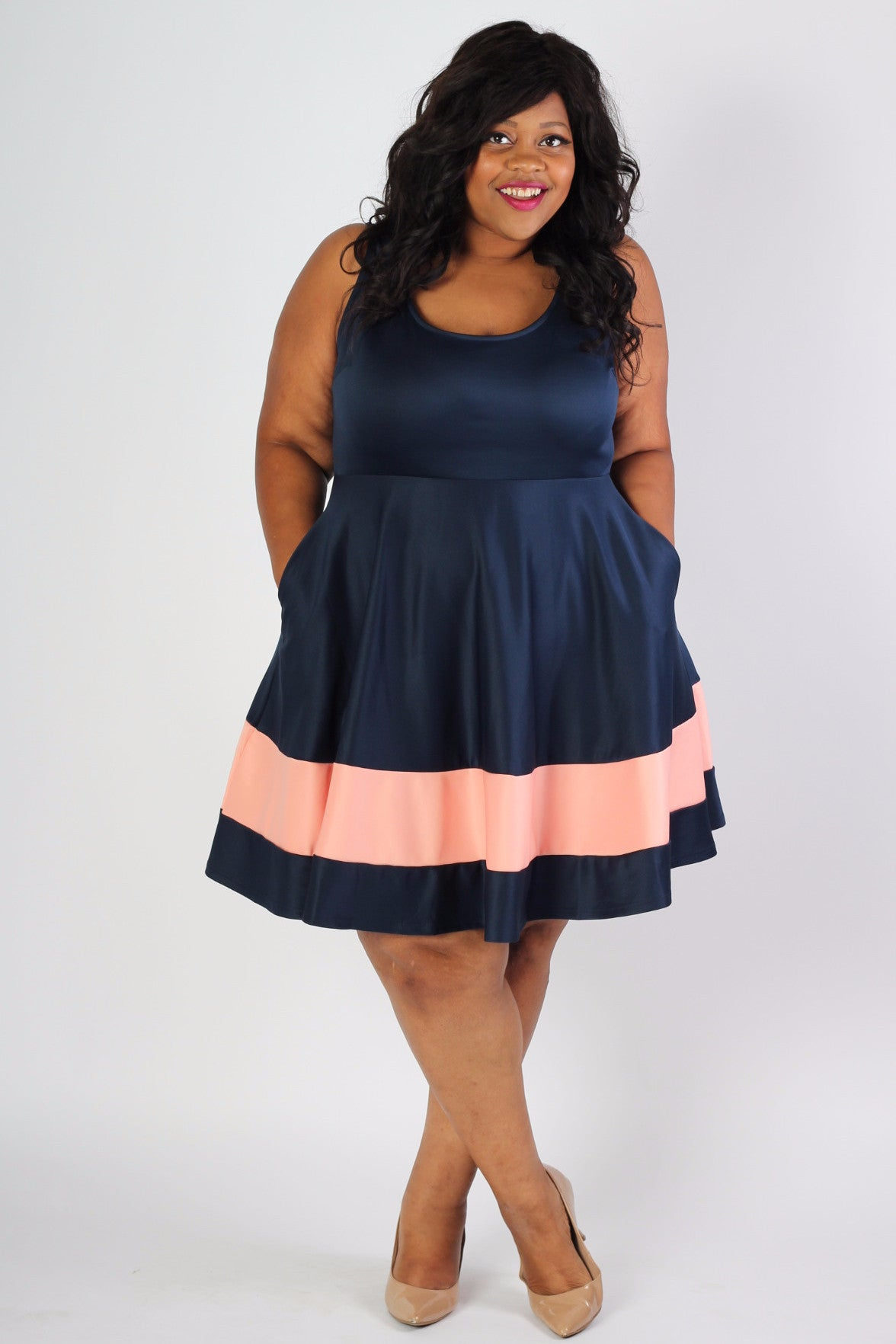 Classic Stripe Skater Dress - Navy