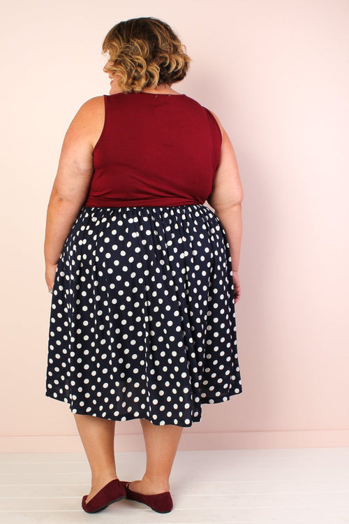 Makena Polka Dot Chiffon Skirt Navy/Ivory