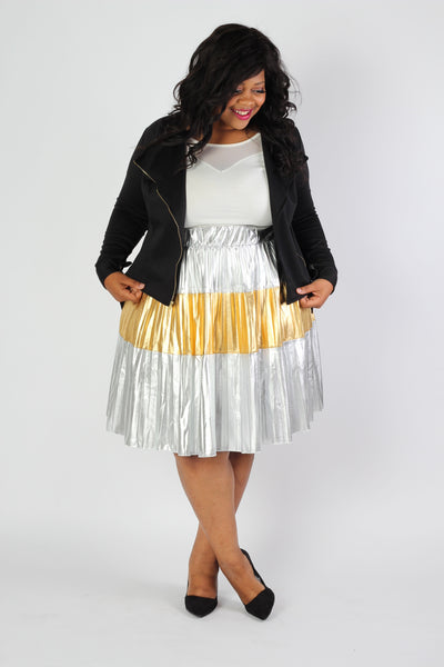 Plus Size Clothing for Women - Jessica Kane Silver/Gold Pleated Skirt - Society+ - Society Plus - Buy Online Now! - 3