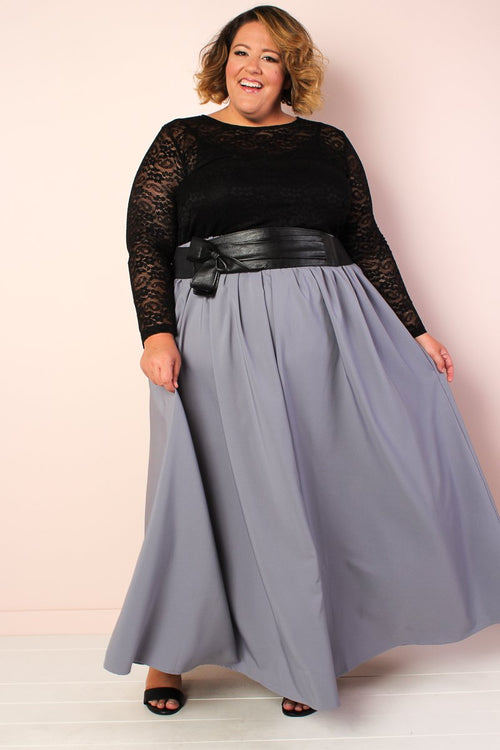 Twirl Maxi Skirt w/ Pockets - Granite