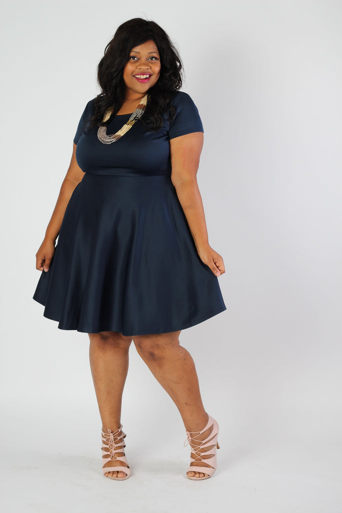 Plus Size Clothing for Women - Solid Skater Dress - Navy - Society+ - Society Plus - Buy Online Now! - 1