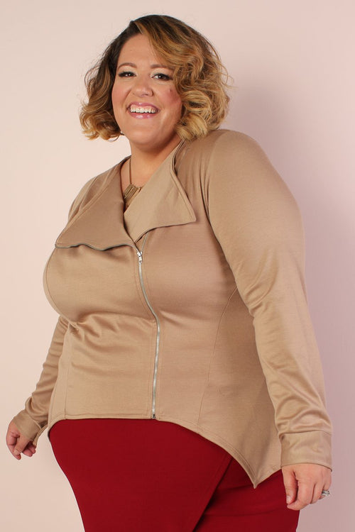 Posh Zippered Blazer - TAN
