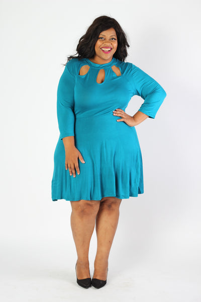Plus Size Clothing for Women - Lady Boss Keyhole Dress - Turquoise - Society+ - Society Plus - Buy Online Now! - 1