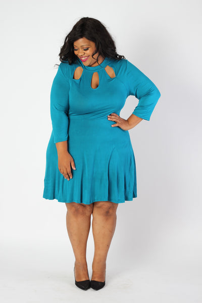 Plus Size Clothing for Women - Lady Boss Keyhole Dress - Turquoise - Society+ - Society Plus - Buy Online Now! - 4