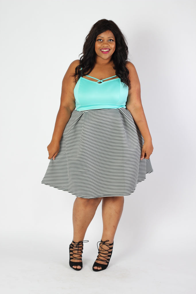 Plus Size Clothing for Women - Seeing Stripes Pleated Skirt - Society+ - Society Plus - Buy Online Now! - 1