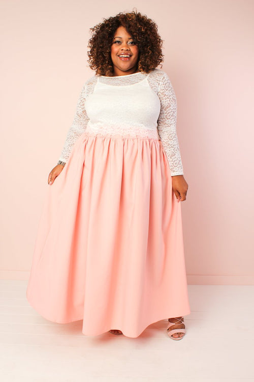 Twirl Maxi Skirt with Pockets - Pink