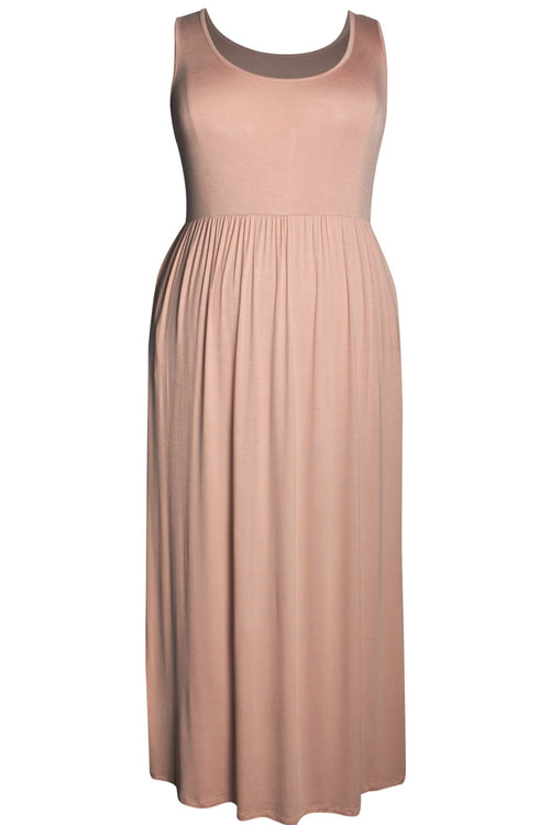 Summer Solid Maxi Dress - Blush