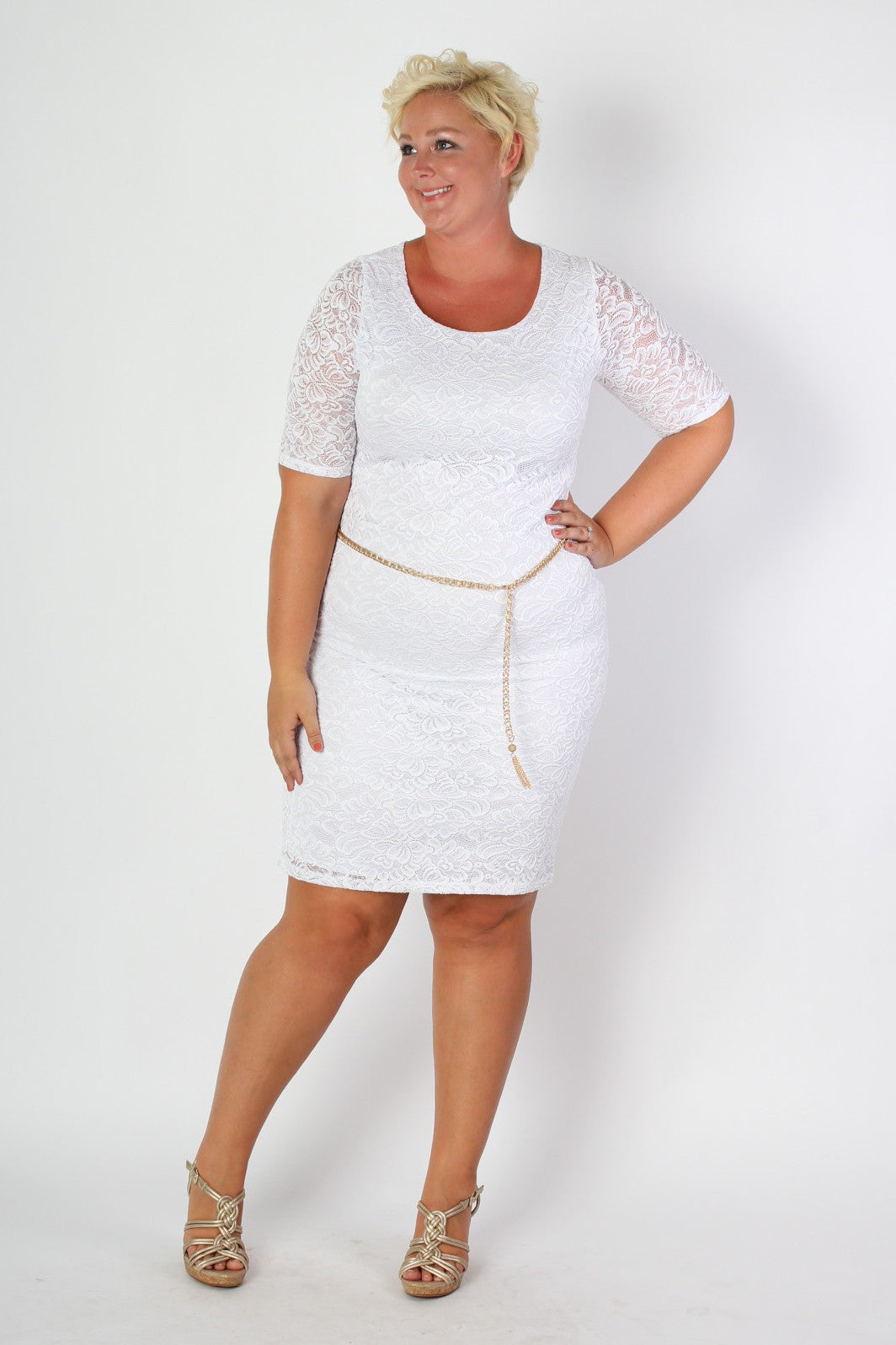 White cruise anyone?! Dress comes with belt. 96% Polyester 4% Spandex Hand wash cold water Do not bleach Hang or line dry Made in the USA Size Bust Waist Hips Length Sleeve Length Arm Hole 14/16 40