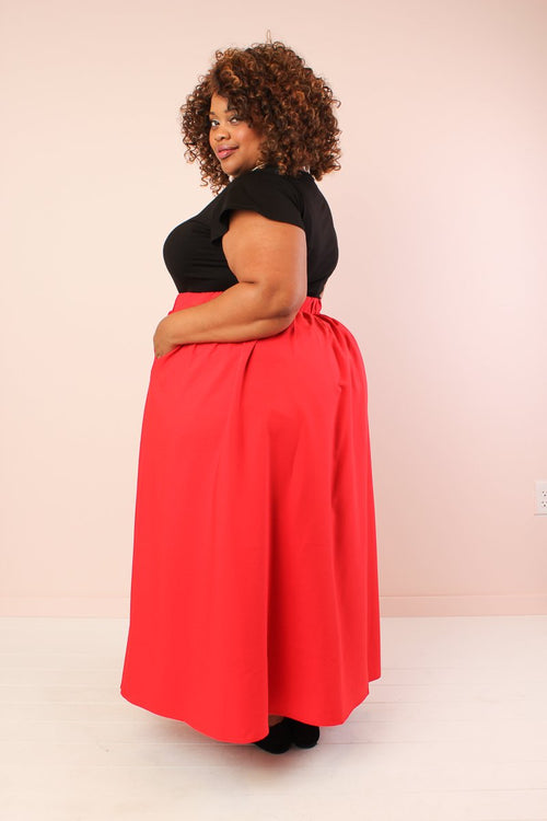 Twirl Maxi Skirt w/ Pockets - True Red