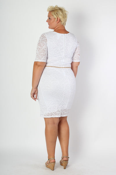 Plus Size Clothing for Women - Floral Lace Mini Dress - Society+ - Society Plus - Buy Online Now! - 3