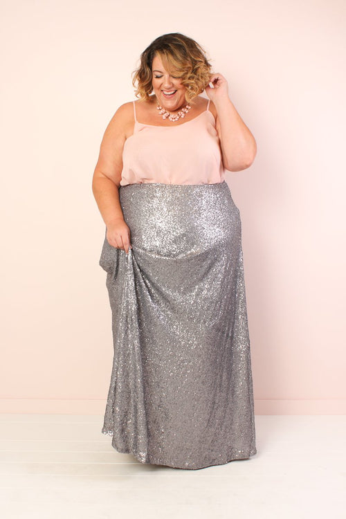 The Showstopper Sequin Maxi Skirt - Silver