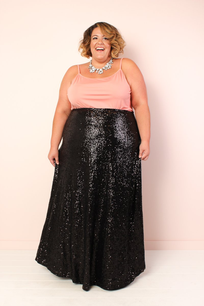 Plus Size The Showstopper Sequin Maxi Skirt - Black (NEW ...