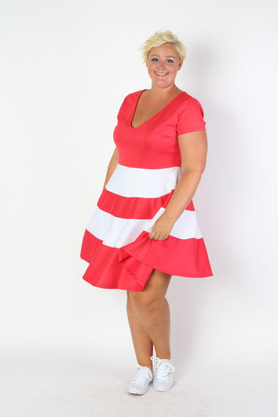 Plus Size Clothing for Women - V-Neck Skater Dress - Coral - Society+ - Society Plus - Buy Online Now! - 2