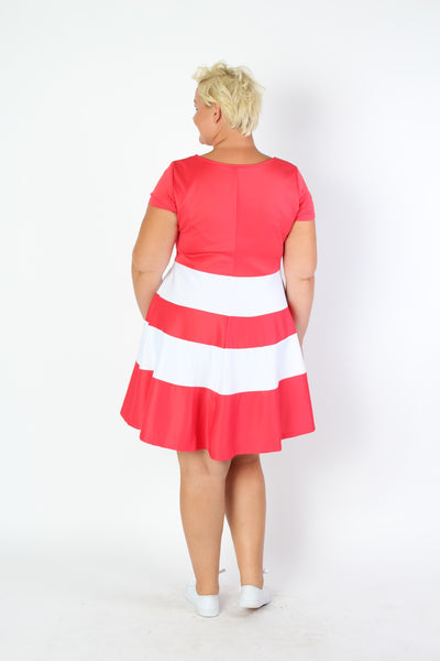 Plus Size Clothing for Women - V-Neck Skater Dress - Coral - Society+ - Society Plus - Buy Online Now! - 3