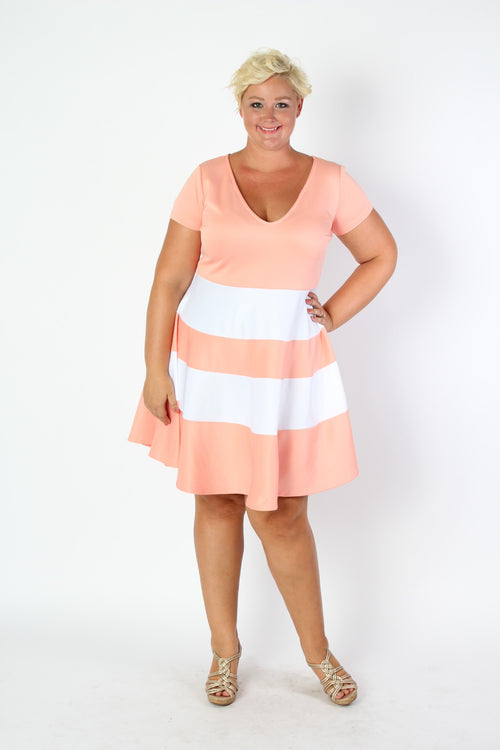 Plus Size Clothing for Women - V-Neck Skater Dress - Peach - Society+ - Society Plus - Buy Online Now! - 2