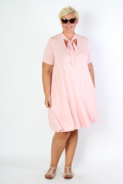 Plus Size Clothing for Women - Bubblegum Bow Tie Dress - Society+ - Society Plus - Buy Online Now! - 1
