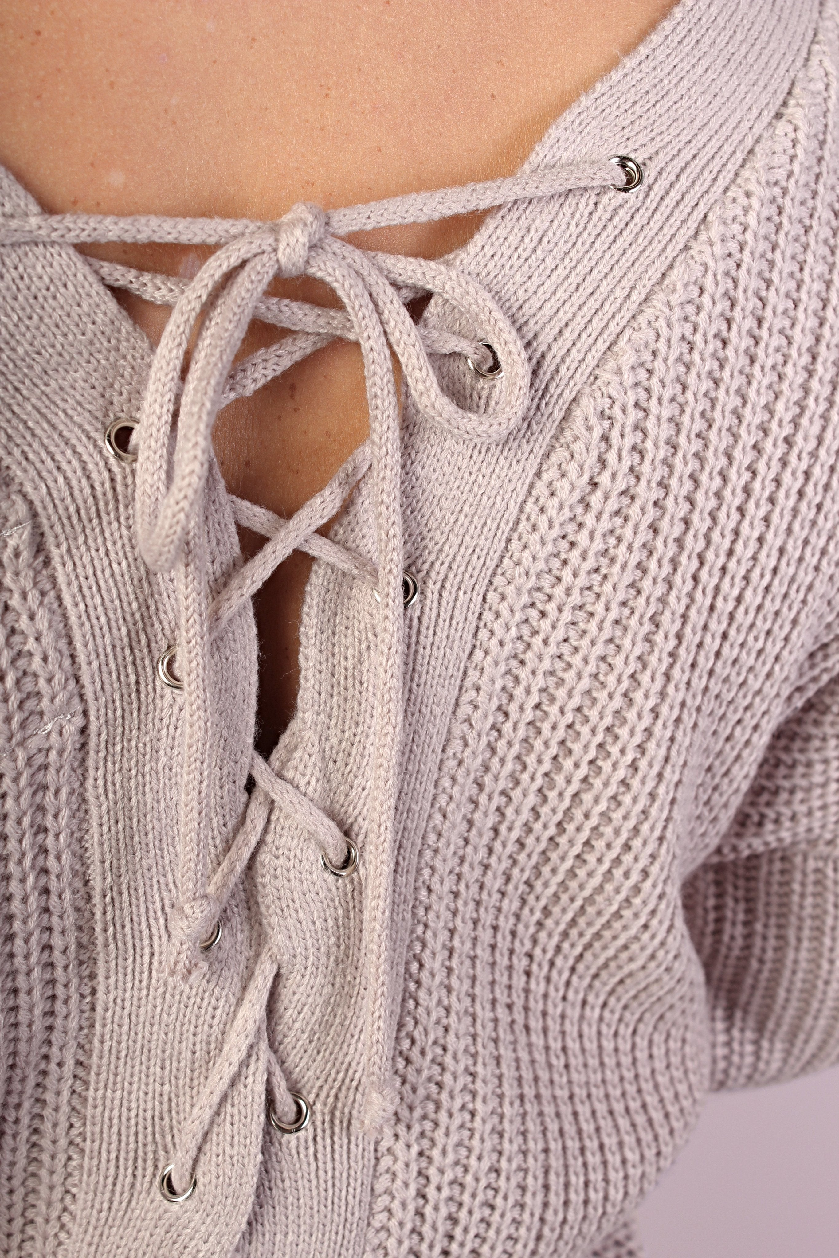 Halle Lace-up Back Sweater
