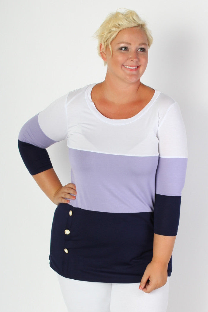Our favorite kind of top is a top that's comfortable and colorful and this one fits the bill. Cute nautical color block and button details to keep you smooth sailing all year round! ???95% Rayon 5% Spandex Dry Clean or Hand Wash Cold Water Do not Bleach, Wash Colors Separately Hang or Line Dry Made in USA Size Bust Waist Length Sleeve Length Arm Hole 16/18 42