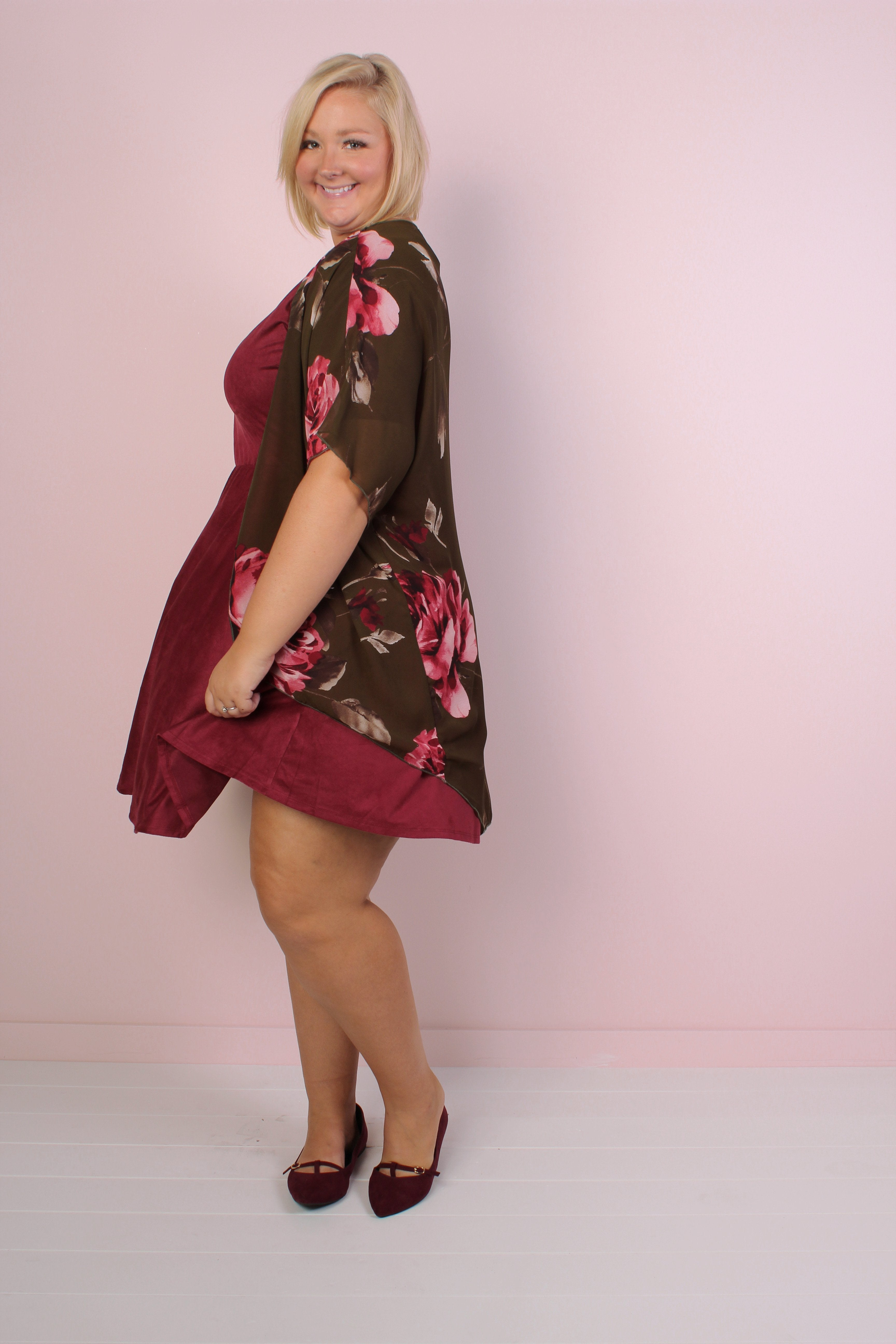 Florence Faux Suede Dress - Burgundy