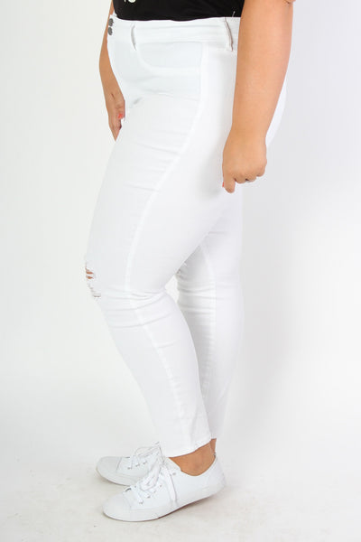 Plus Size Clothing for Women - White Distressed Jeans - Society+ - Society Plus - Buy Online Now! - 2