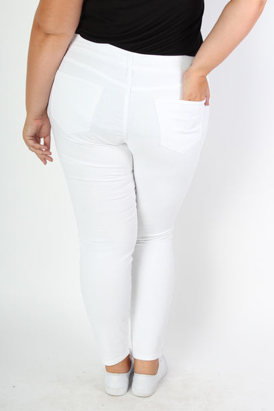 Plus Size Clothing for Women - White Distressed Jeans - Society+ - Society Plus - Buy Online Now! - 3