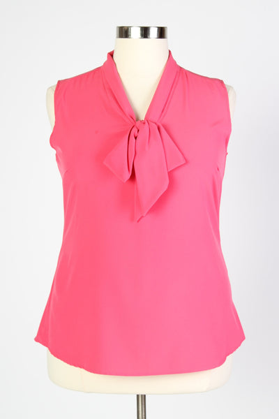 Plus Size Clothing for Women - Sleeveless Bow Blouse - Pink - Society+ - Society Plus - Buy Online Now! - 1