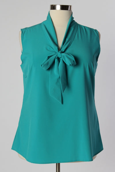 Plus Size Clothing for Women - Sleeveless Bow Blouse - Teal - Society+ - Society Plus - Buy Online Now! - 2