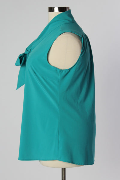 Plus Size Clothing for Women - Sleeveless Bow Blouse - Teal - Society+ - Society Plus - Buy Online Now! - 3