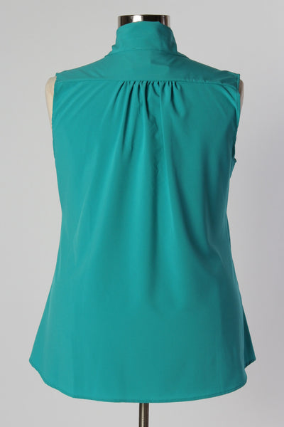 Plus Size Clothing for Women - Sleeveless Bow Blouse - Teal - Society+ - Society Plus - Buy Online Now! - 4