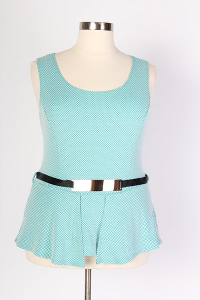 Plus Size Clothing for Women - Aqua Peplum Top with Belt - Society+ - Society Plus - Buy Online Now! - 2