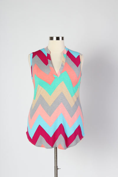 Plus Size Clothing for Women - Multi-Color Sleeveless Chevron Top - Mint - Society+ - Society Plus - Buy Online Now! - 2