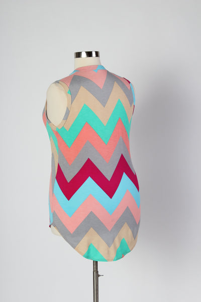 Plus Size Clothing for Women - Multi-Color Sleeveless Chevron Top - Mint - Society+ - Society Plus - Buy Online Now! - 3