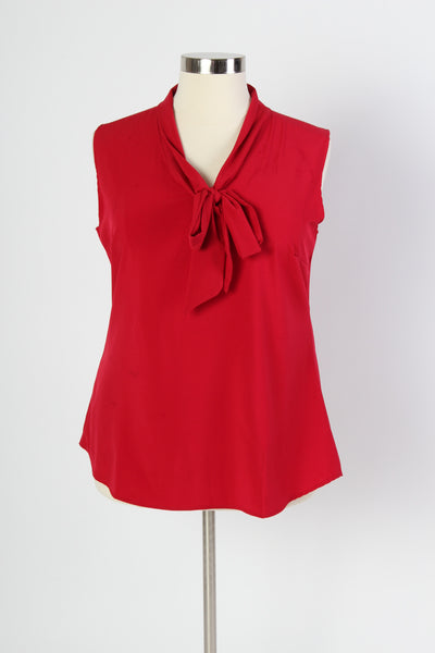 Plus Size Clothing for Women - Sleeveless Bow Blouse - Red - Society+ - Society Plus - Buy Online Now! - 2