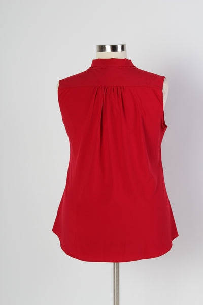 Plus Size Clothing for Women - Sleeveless Bow Blouse - Red - Society+ - Society Plus - Buy Online Now! - 3