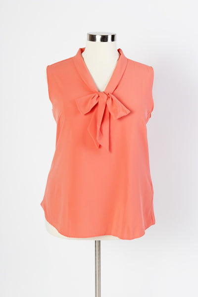 Plus Size Clothing for Women - Sleeveless Bow Blouse - Salmon - Society+ - Society Plus - Buy Online Now! - 3