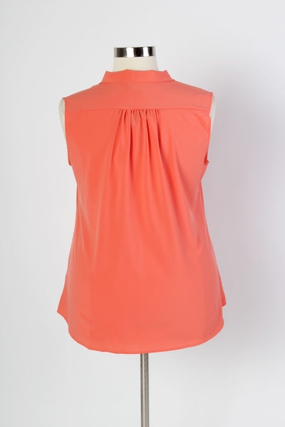 Plus Size Clothing for Women - Sleeveless Bow Blouse - Salmon - Society+ - Society Plus - Buy Online Now! - 2
