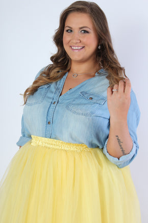 Plus Size Clothing for Women - Softest Chambray Top - Society+ - Society Plus - Buy Online Now! - 1
