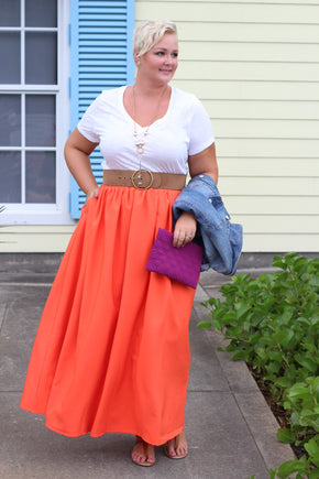 Plus Size Clothing for Women - Twirl Maxi Skirt w/ Pockets - Pumpkin Spice - Society+ - Society Plus - Buy Online Now! - 1