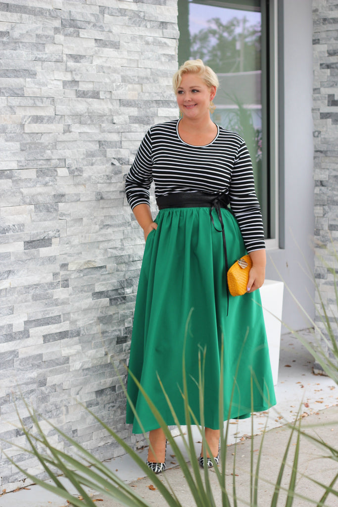 Plus Size Clothing for Women - Twirl Maxi Skirt w/ Pockets - Emerald City - Society+ - Society Plus - Buy Online Now! - 1