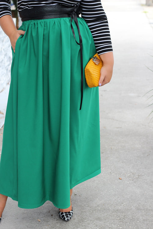 Plus Size Clothing for Women - Twirl Maxi Skirt w/ Pockets - Emerald City - Society+ - Society Plus - Buy Online Now! - 2
