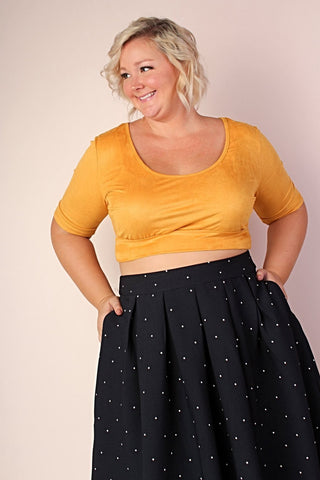 Lucy 2-in-1 Stretchy Lace Midi Top - Black