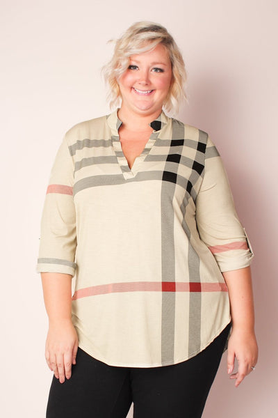 Nora Plaid Tunic - Cream