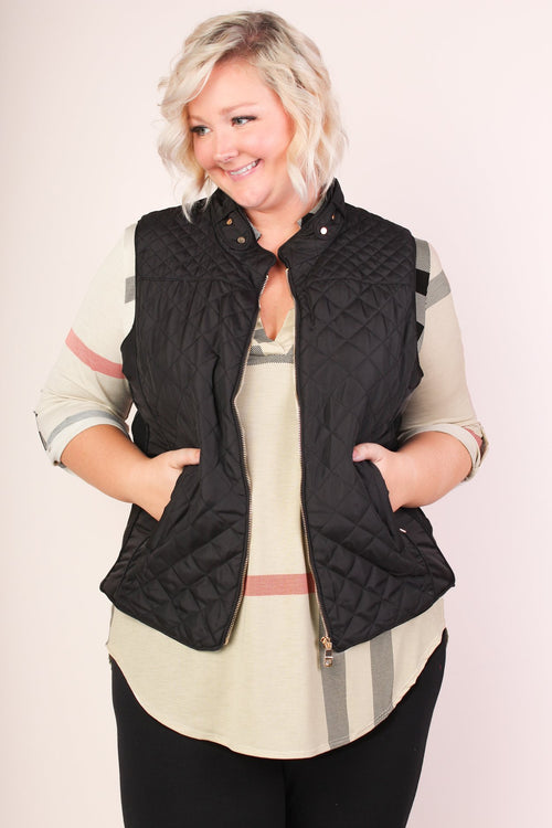Alexis Quilted Vest - Black