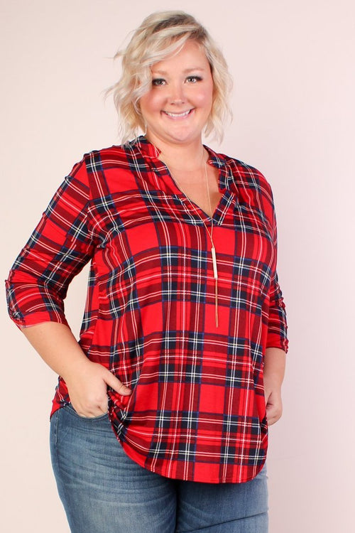 Chelsea Plaid Tunic - Red & Navy