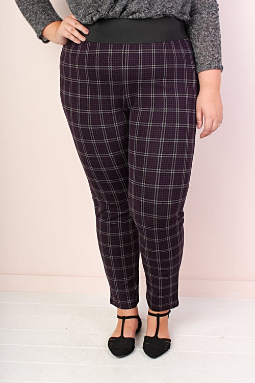 Harper Plaid Leggings - Purple