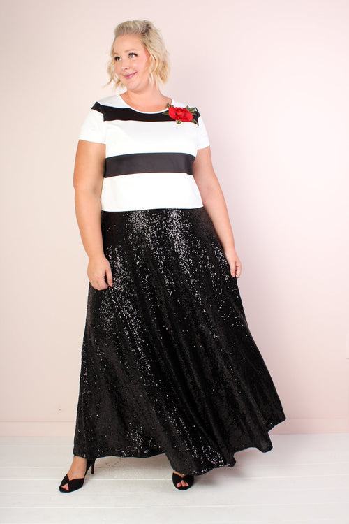 The Showstopper Sequin Maxi Skirt - Black